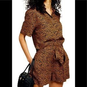 Topshop CAIRO Leopard Tie Waist Shorts